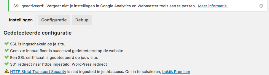 Mixed content oplossen: Really Simple SSL ingesteld
