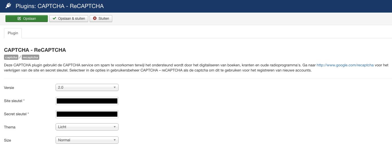 Het instellen van een reCAPTCHA in Joomla: stap 2