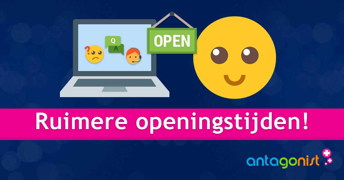 Ruimere openingstijden en support via de chat!