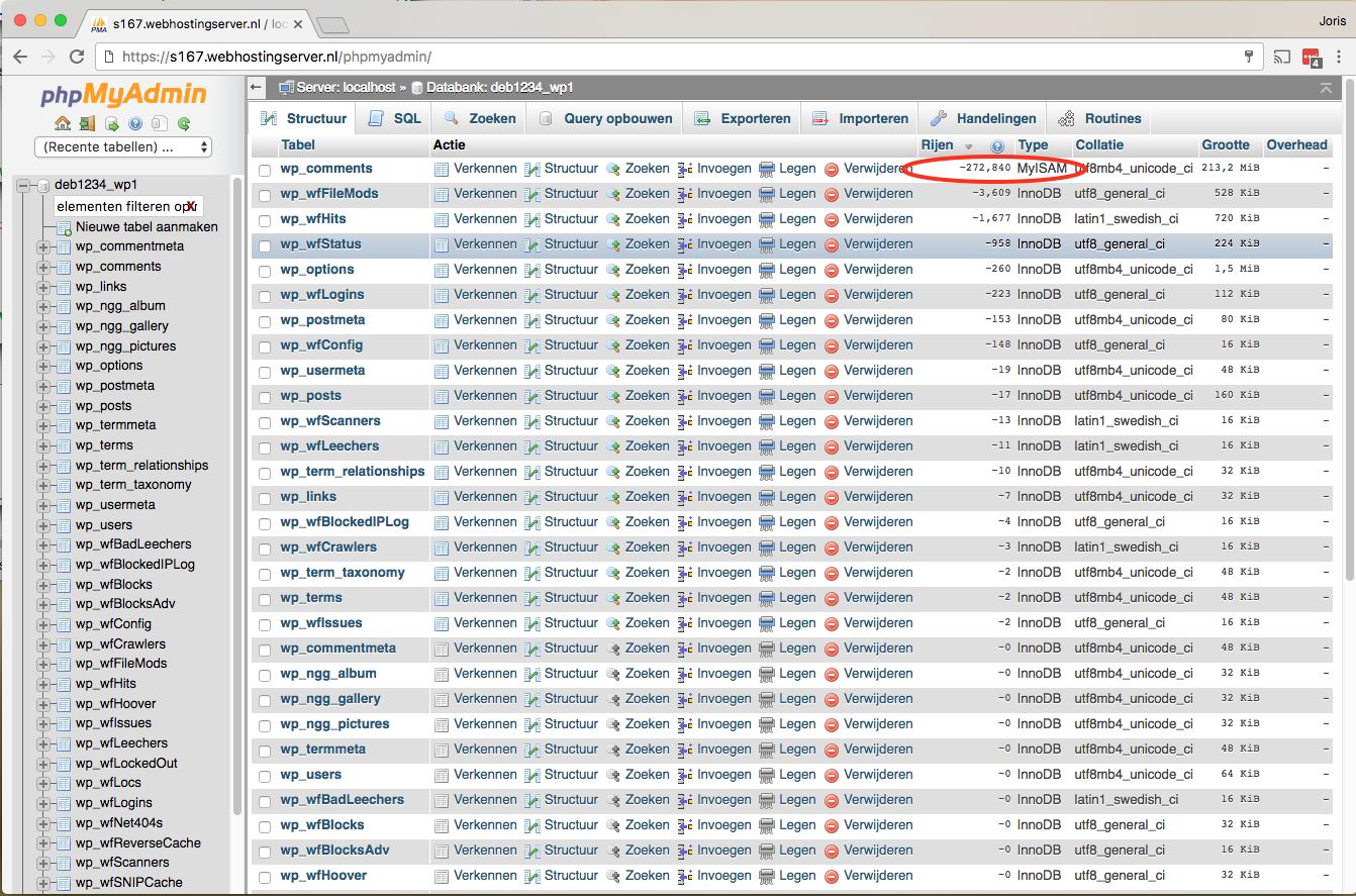 Via phpMyAdmin controleren of er volle tabellen zijn