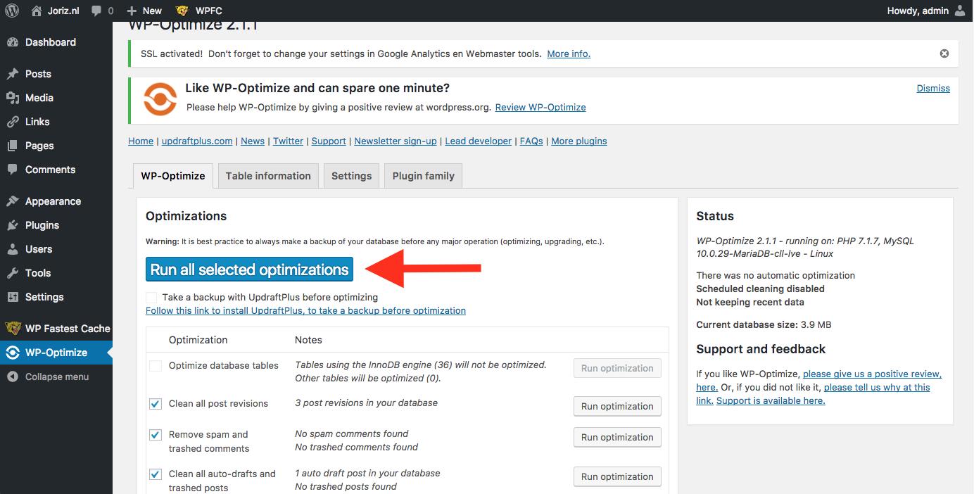 Het uitvoeren van database-optimalisatie met WP-Optimize