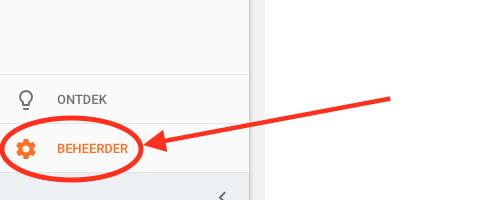 De optie 'Beheerder' in Google Analytics