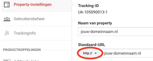 Het aanpassen van HTTP naar HTTPS bij de Property-instellingen