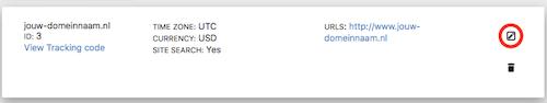 De URL in Piwik aanpassen via het potloodje