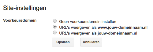 Je voorkeursdomein selecteren in Google Search Console