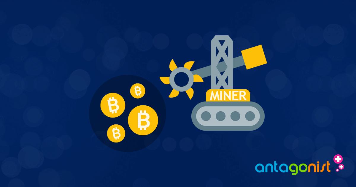 Het minen van bitcoins.