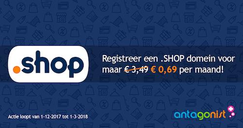 Ontvang nu 80% korting bij het registreren van een .SHOP domein!