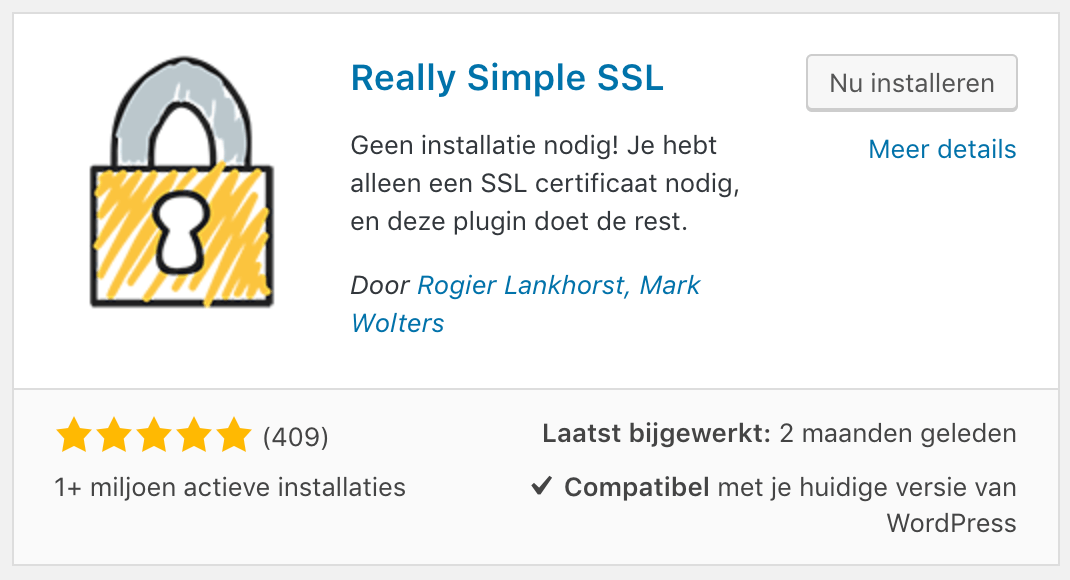 Het installeren van Really Simple SSL.