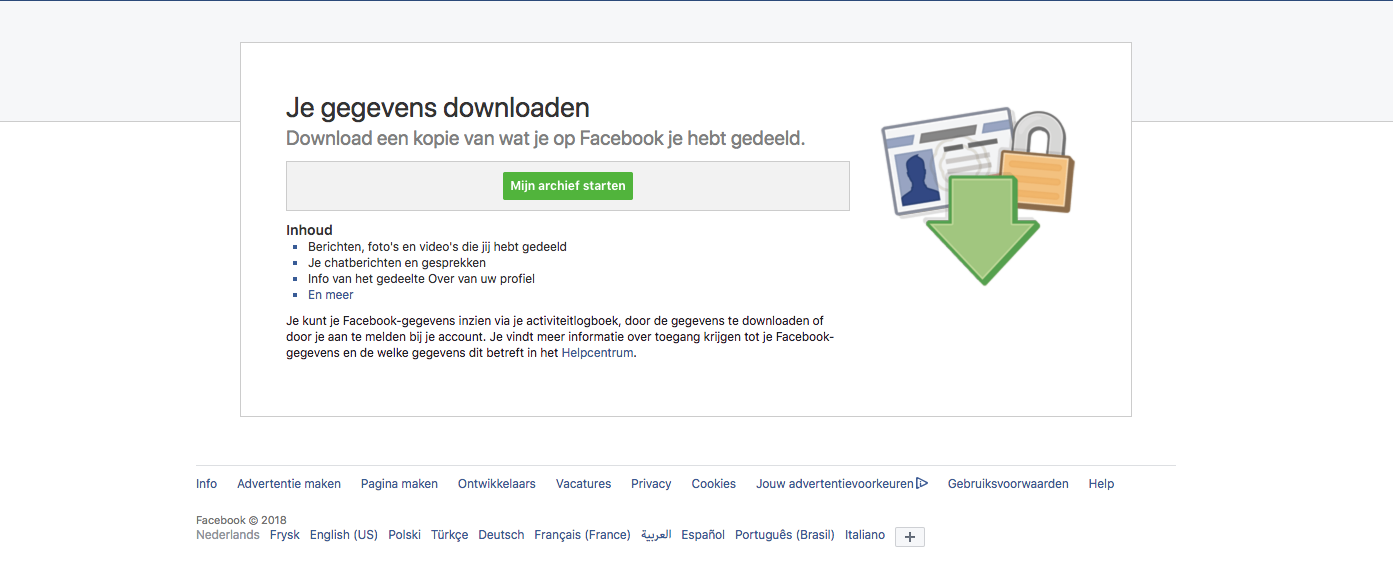 Facebook privacy: je gegevens downloaden