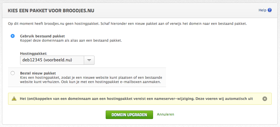 Via Mijn Antagonist een los domein aan je hostingpakket koppelen.