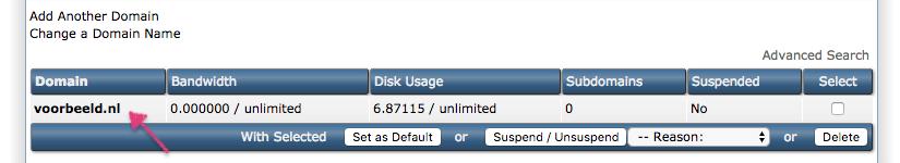 HSTS activeren: klik op het gewenste domein, waarvoor je HSTS wilt activeren.