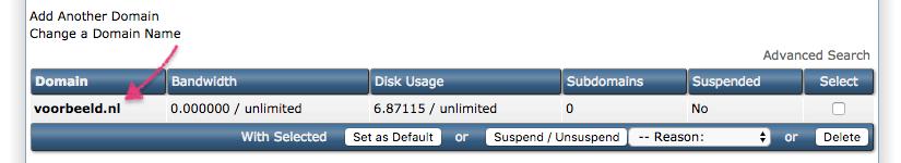 Standaard HTTPS: kies het domein waarvoor je alles naar HTTPS wilt doorsturen.