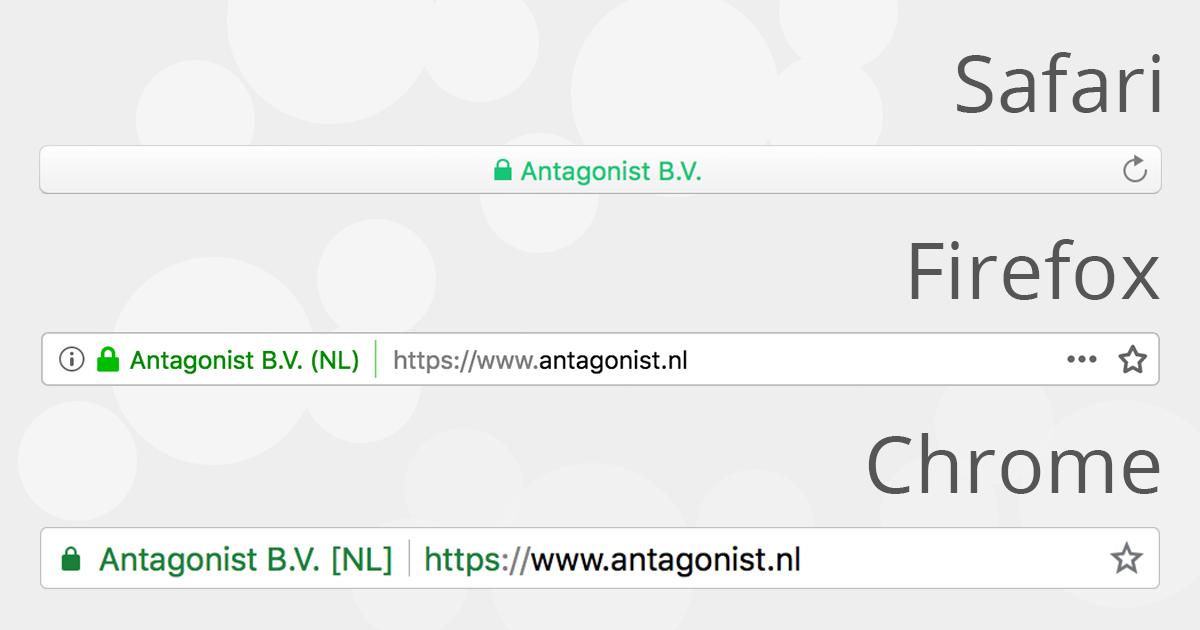 De weergave van een SSL-certificaat met Uitgebreide Validatie in browsers.