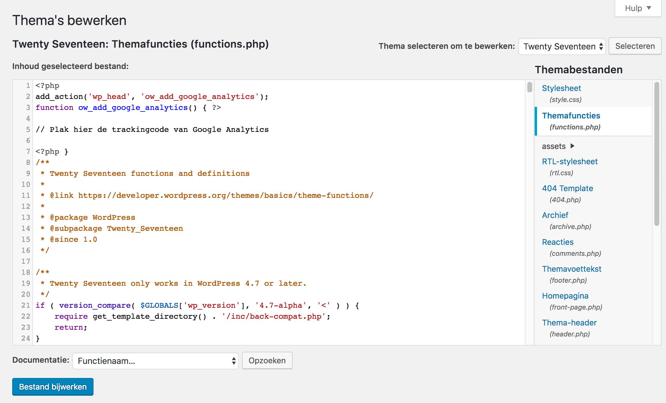 De trackingcode van Google Analytics aan de functions.php toevoegen.
