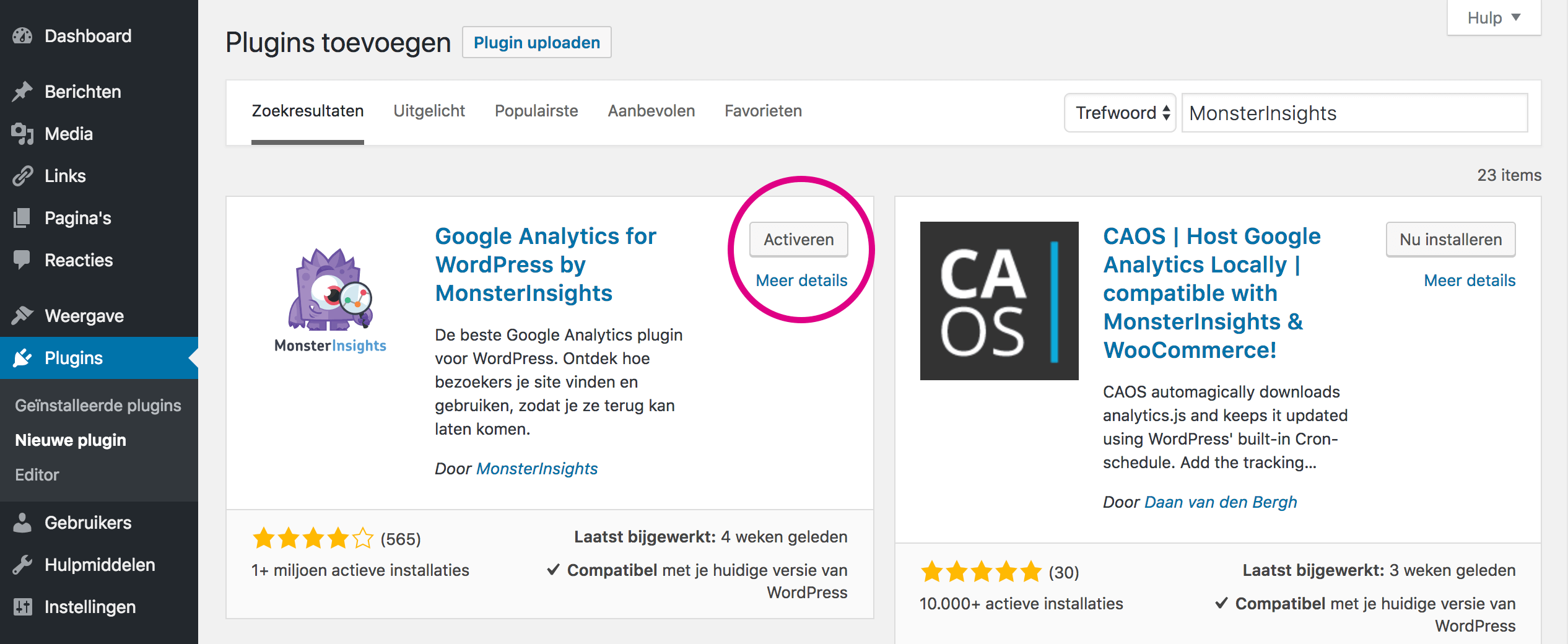 Het installeren en activeren van de plugin MonsterInsights voor WordPress.