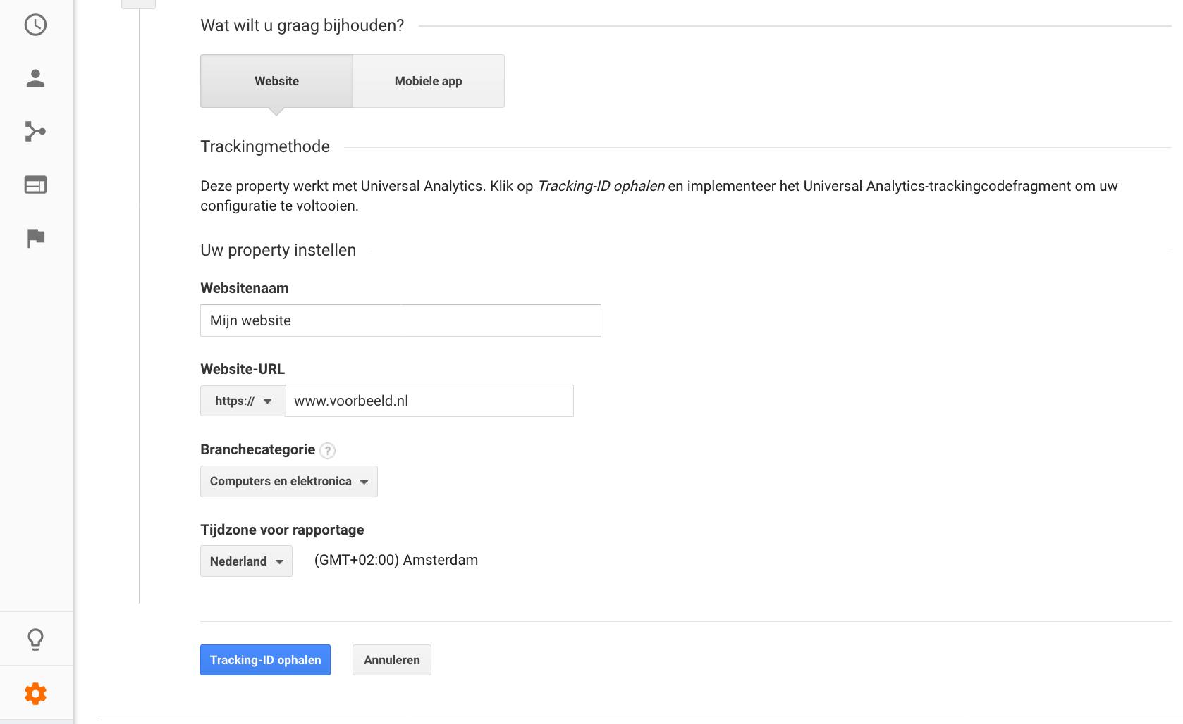 Een property instellen in Google Analytics.