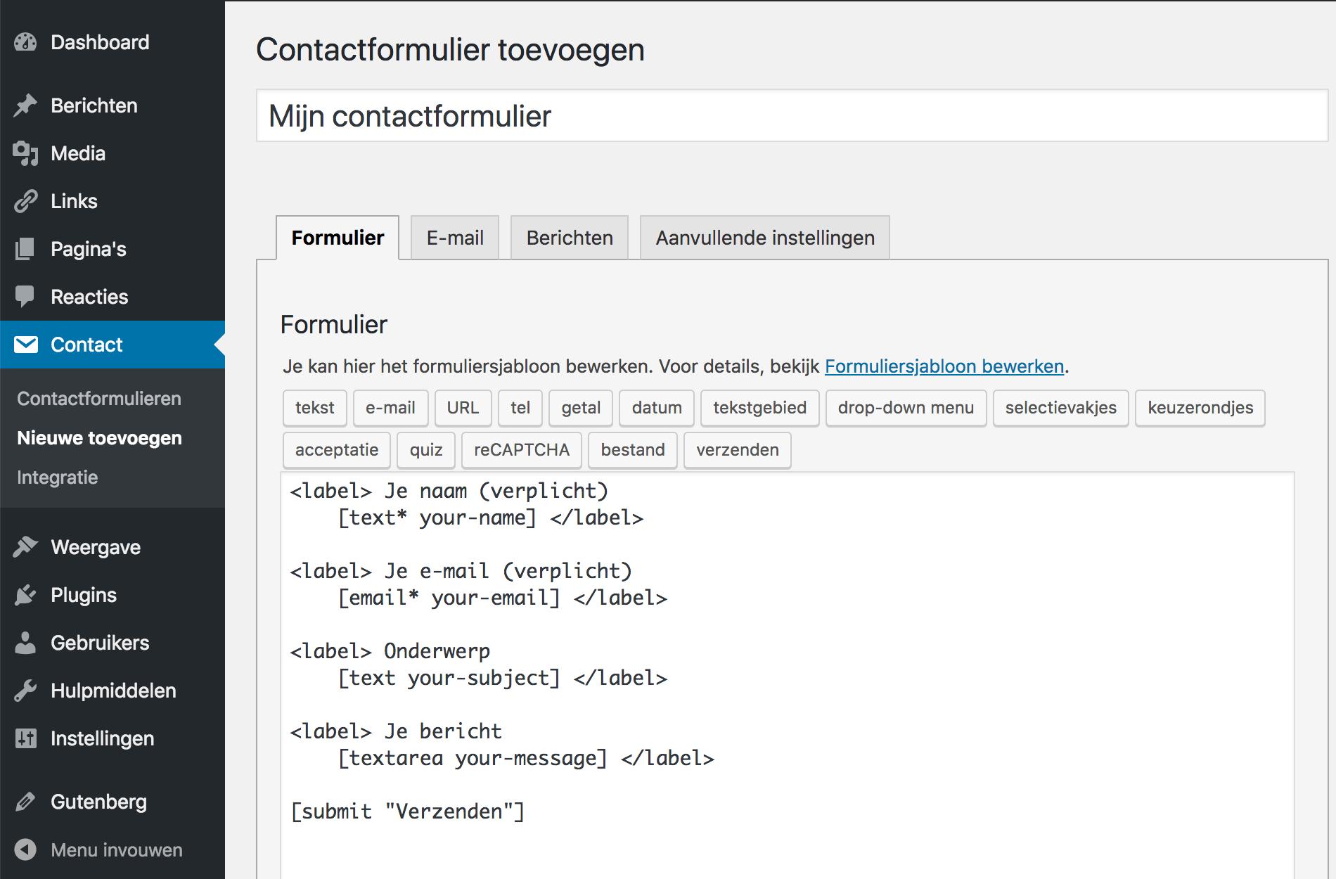 Een nieuw contactformulier toevoegen met Contact Form 7 in WordPress.