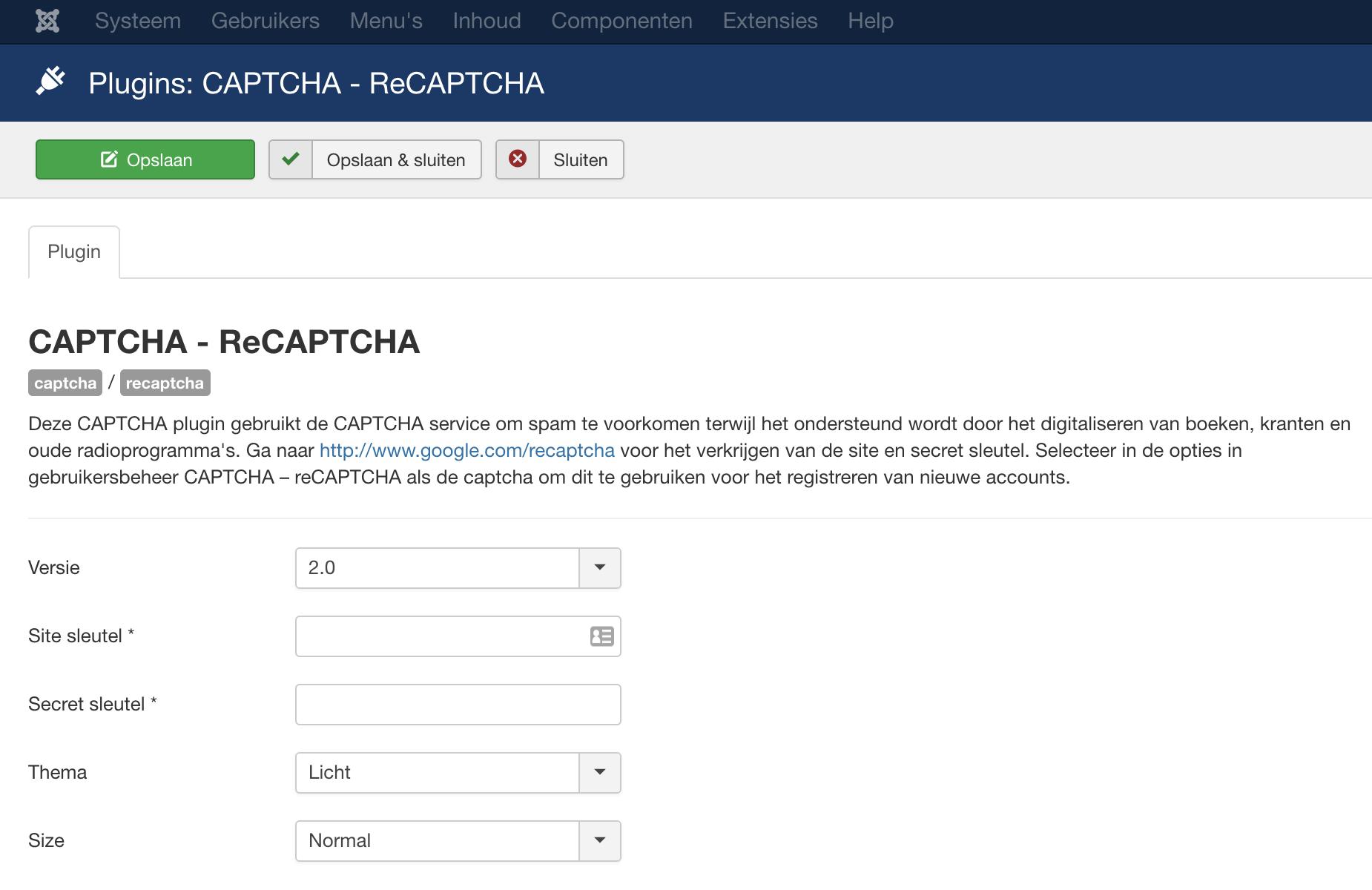 De reCAPTCHA-sleutels toevoegen in Joomla.