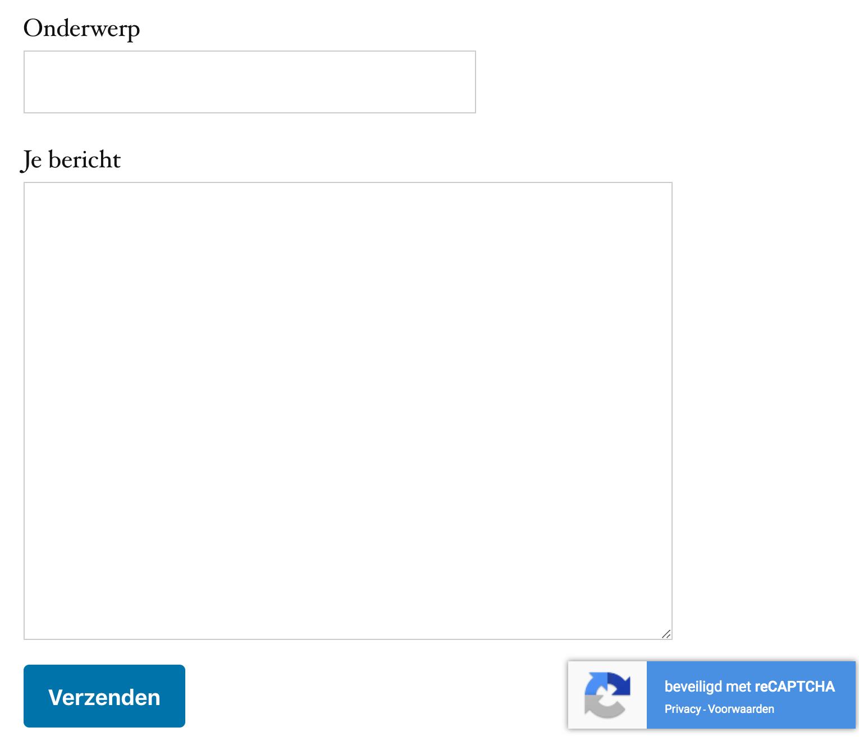 Een voorbeeld van reCAPTCHA v3 bij een contactformulier van WordPress.