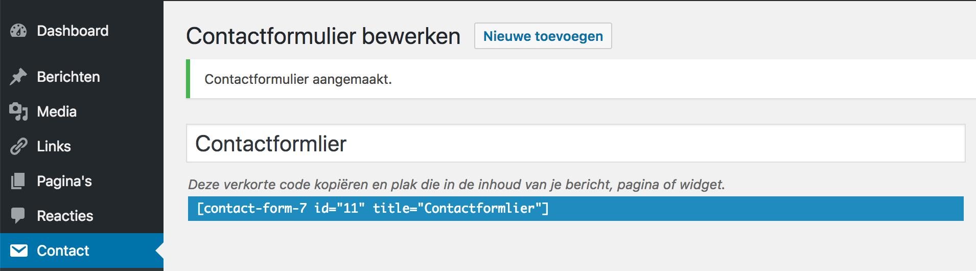De verkorte code om een contactformulier op je website te plaatsen.