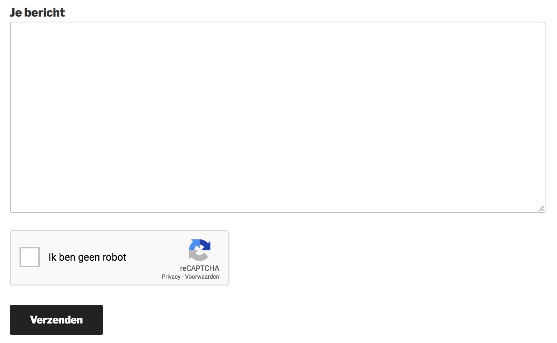 Voorbeeld van een reCAPTCHA in WordPress.
