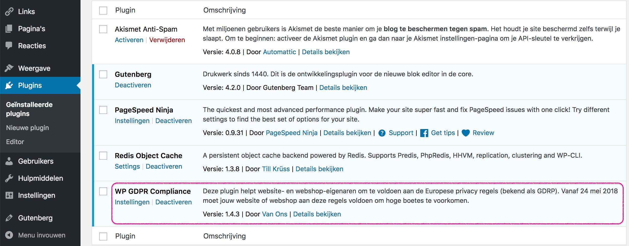 WP GDPR Compliance-plugin voor WordPress.
