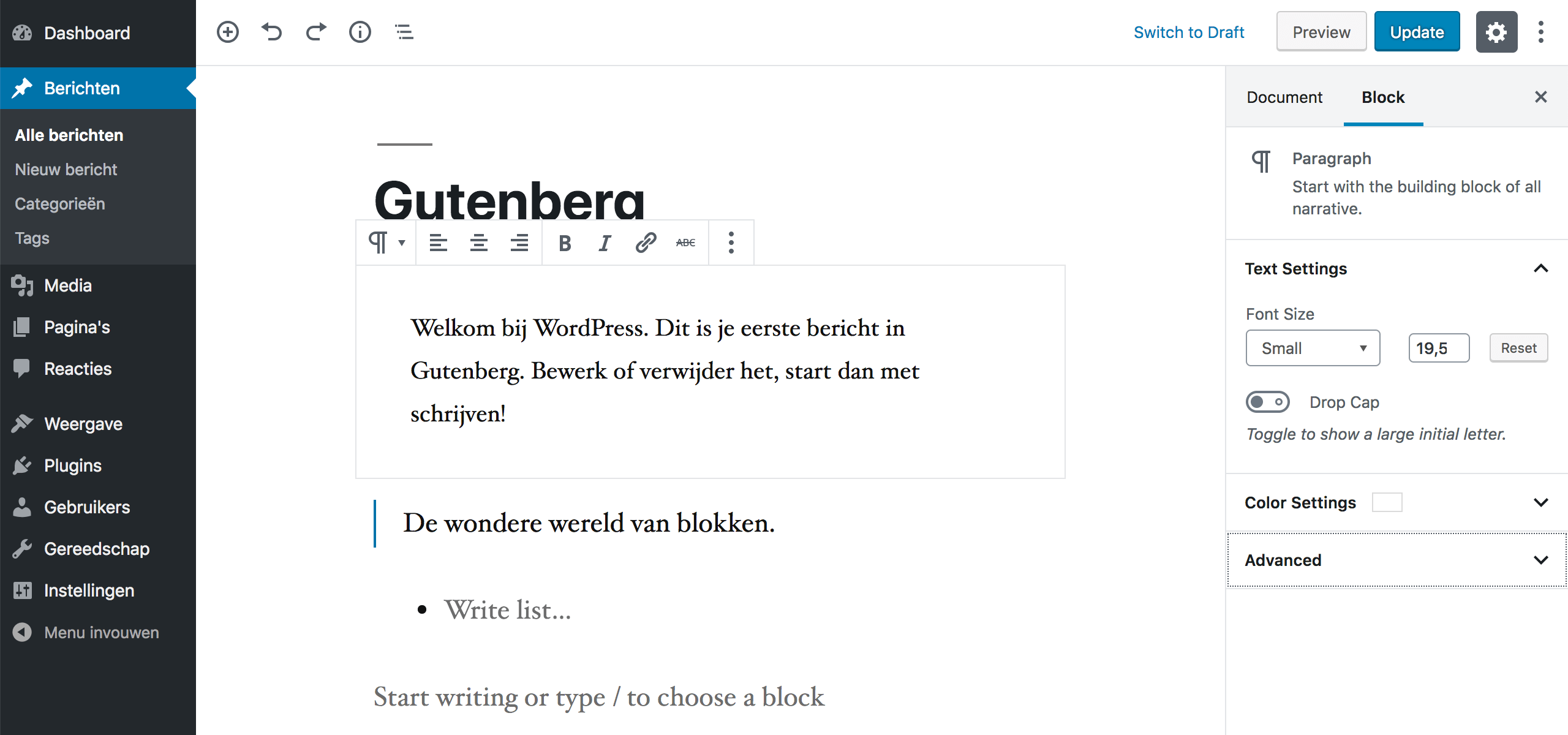 De Gutenberg editor in WordPress.