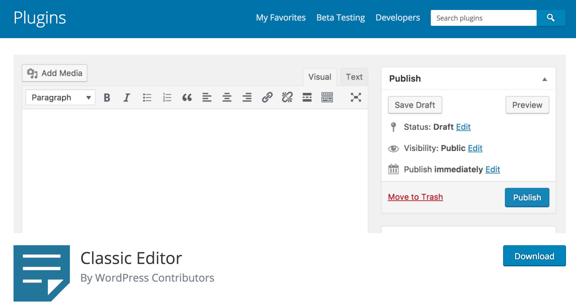 De Classic Editor-plugin voor WordPress.