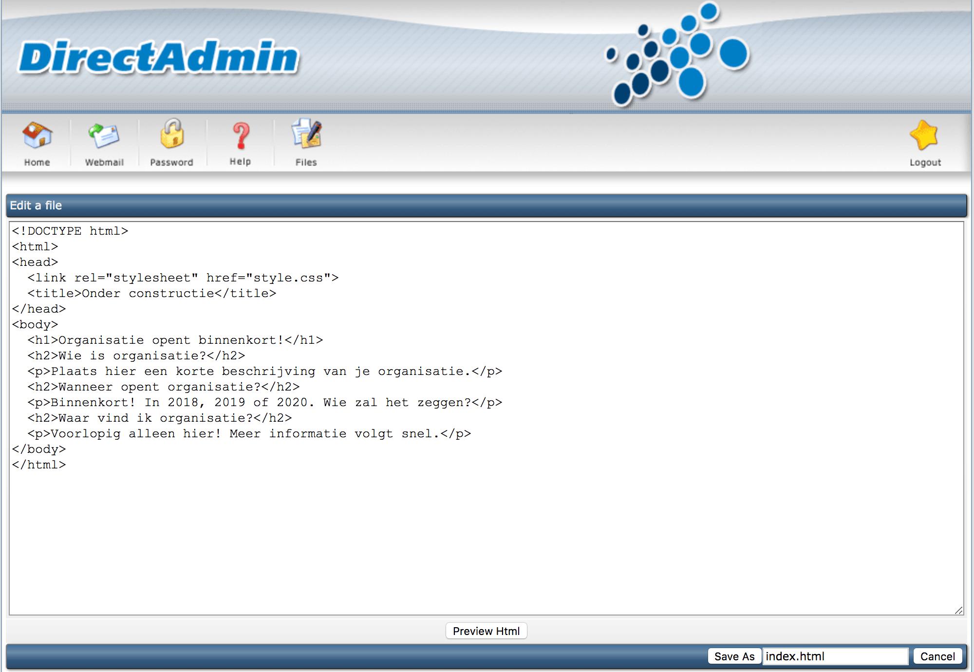 Een index.html aanmaken via de File Manager van DirectAdmin.