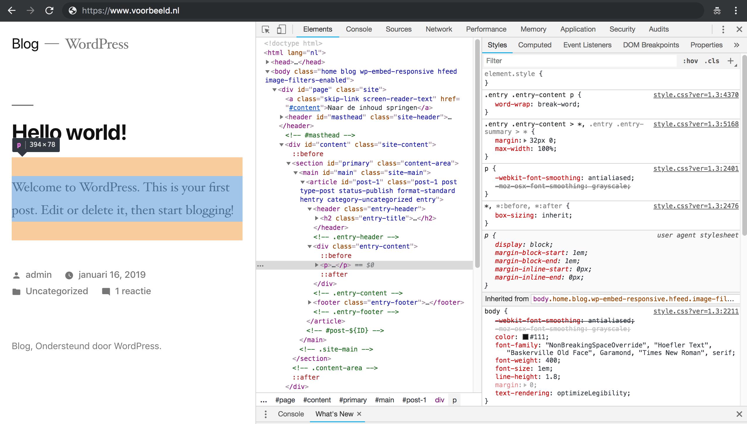 Web Developer Tools: het bekijken en wijzigen van CSS.