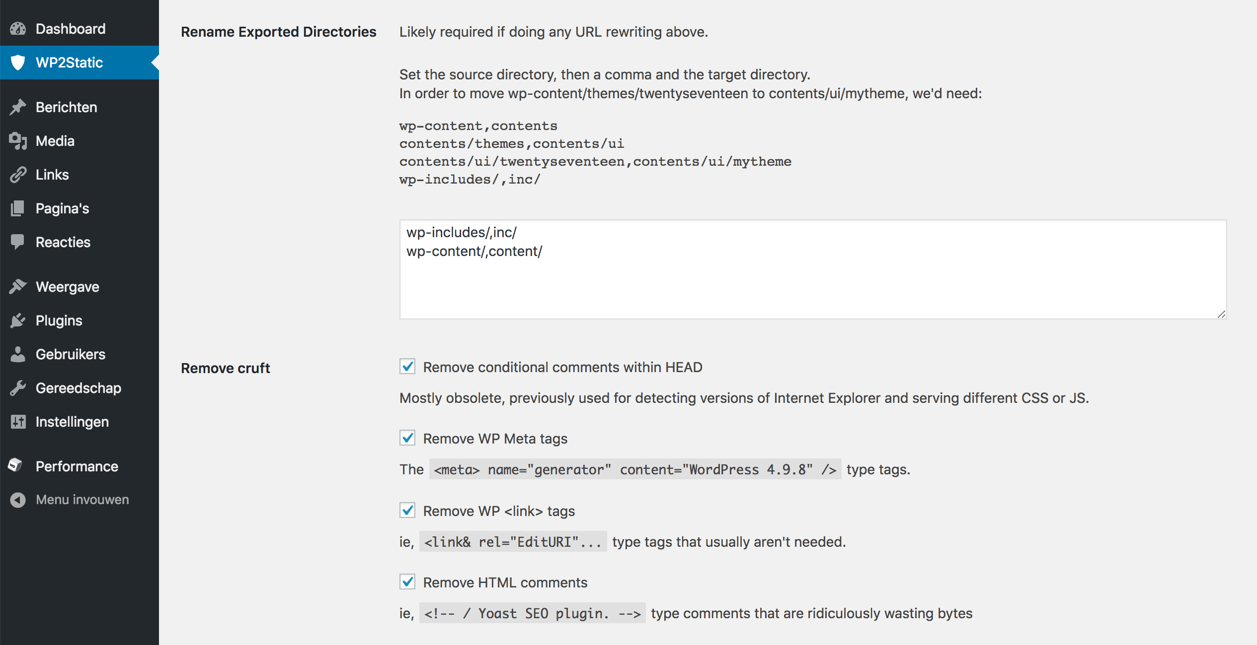 WordPress omzetten naar statische website: de instellingen bij 'Rename Exported Directories'.