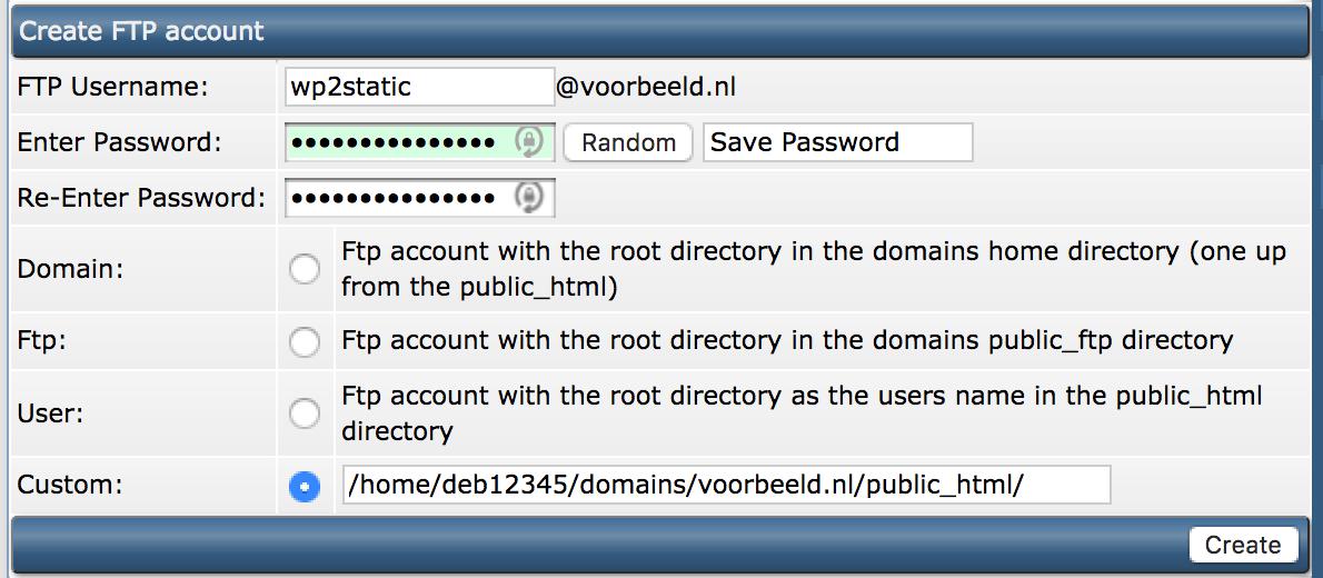 WordPress omzetten naar een statische website: een FTP-account aanmaken in DirectAdmin.