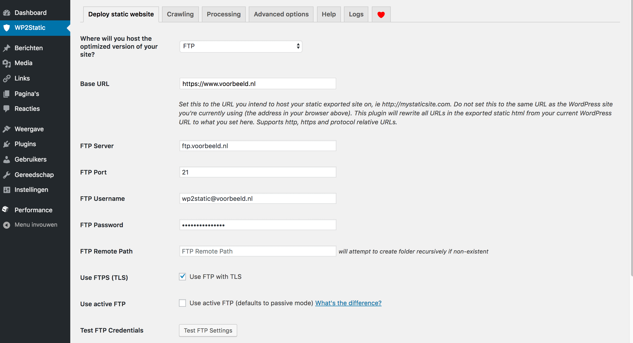WordPress omzetten naar een statische website: de gegevens van het FTP-account in WP2Static invullen.