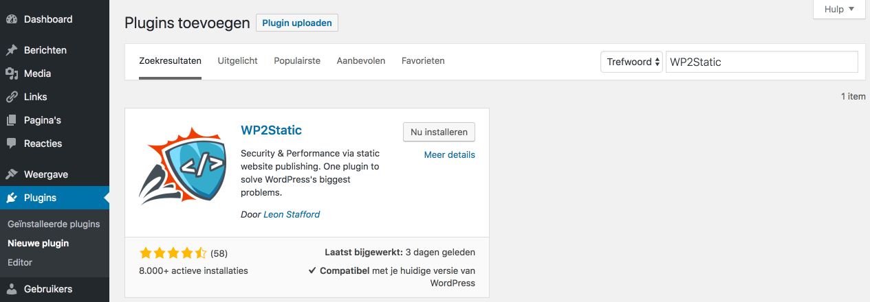 WordPress omzetten naar een statische website: de plugin WP2Static installeren.