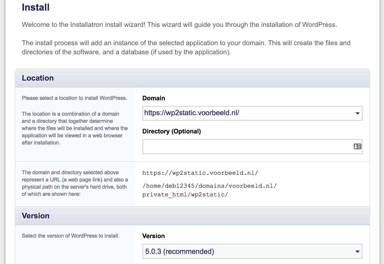 WordPress omzetten naar een statische website: het subdomein als locatie opgeven.