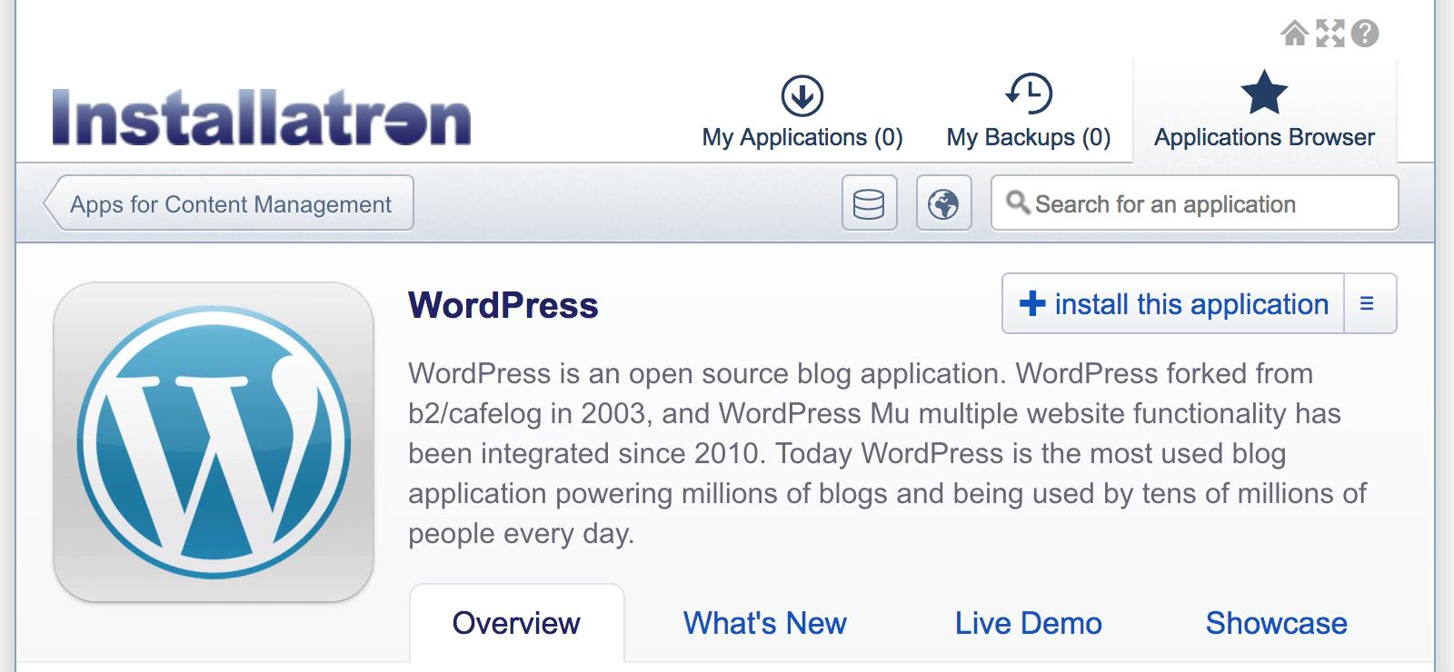 WordPress omzetten naar een statische website: WordPress via Installatron installeren.