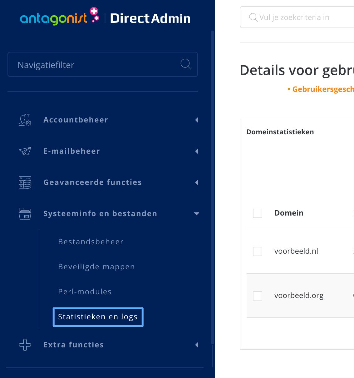 De logboeken bekijken in DirectAdmin.