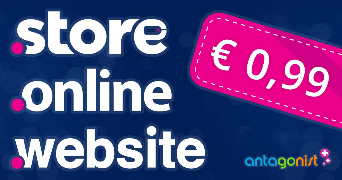Probeer .STORE, .ONLINE en .WEBSITE nu 1 jaar voor € 0,99!