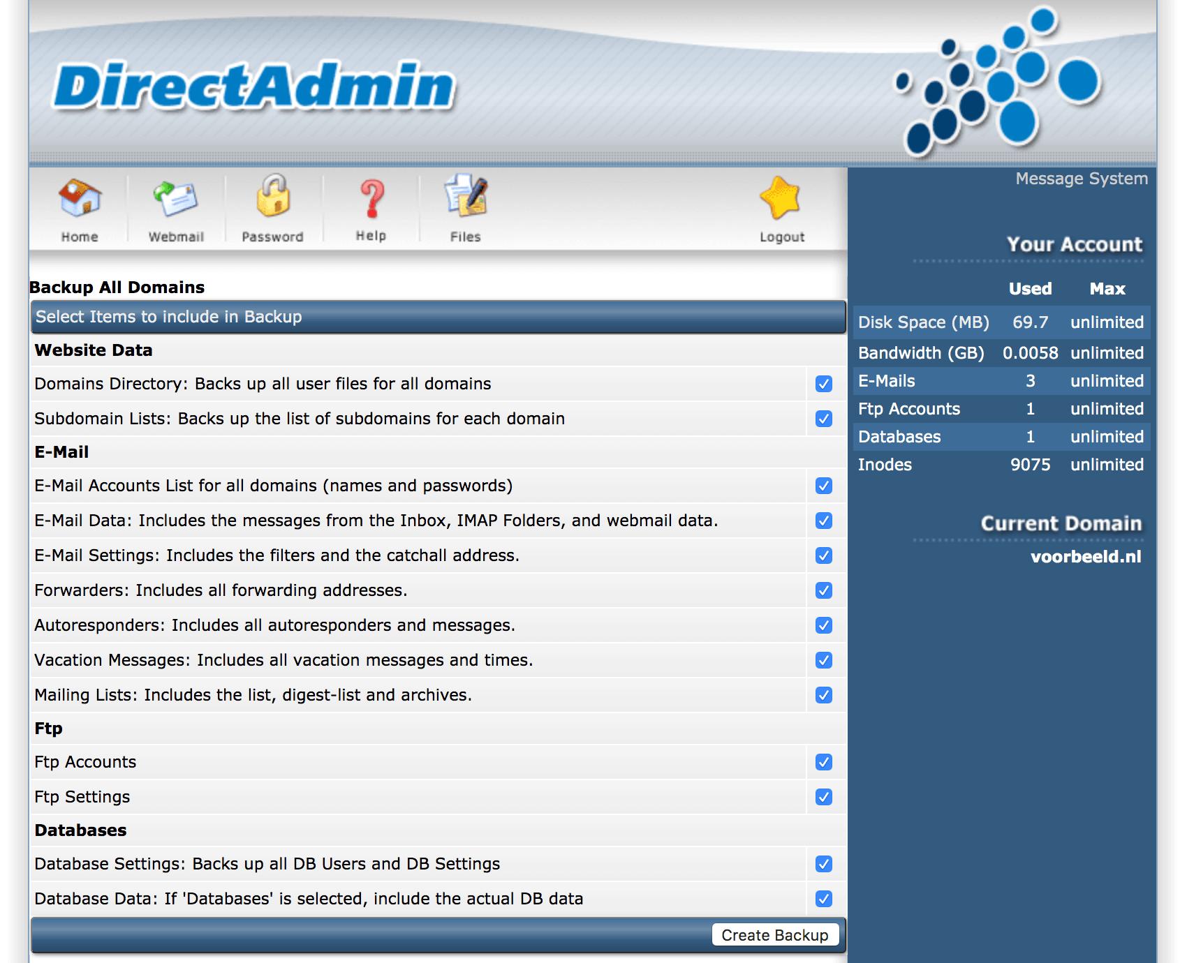 Een backup maken in DirectAdmin.
