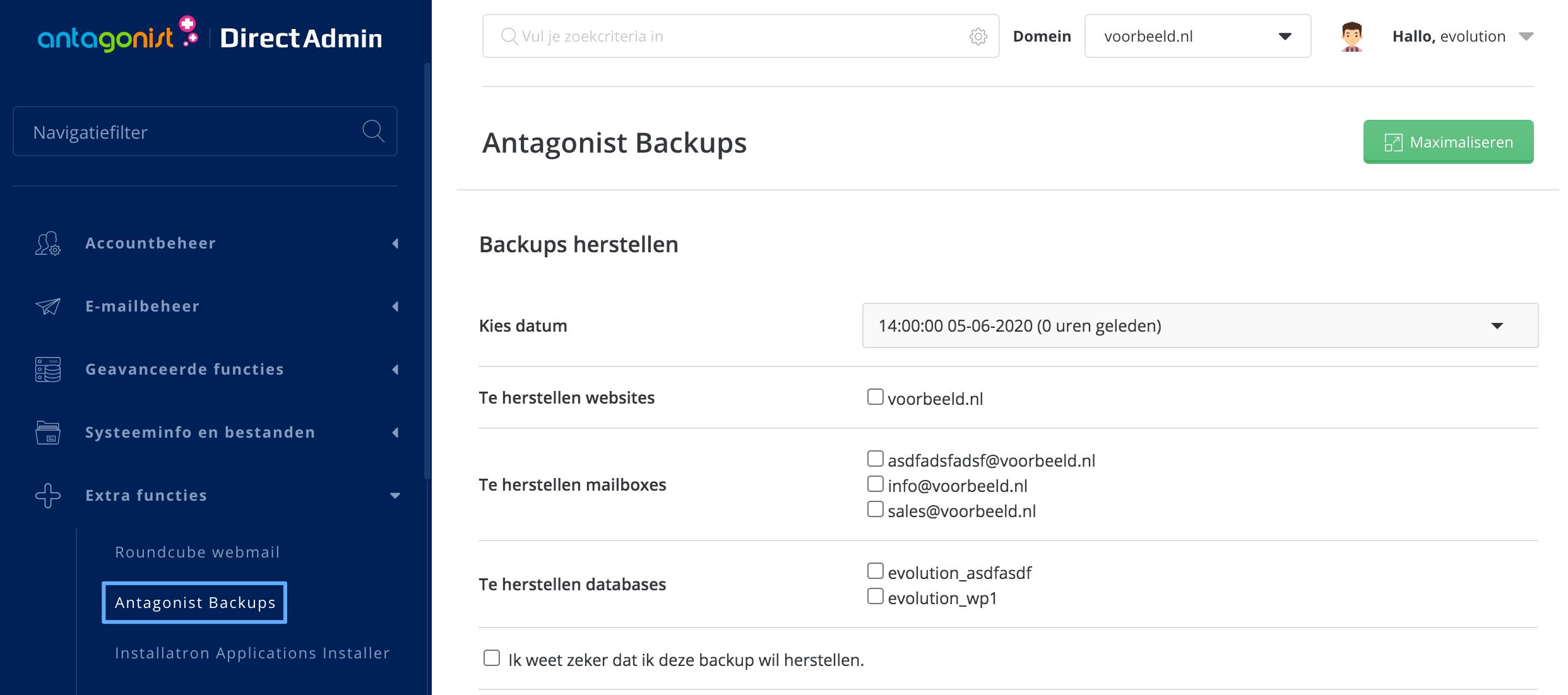 Antagonist Backups in DirectAdmin.