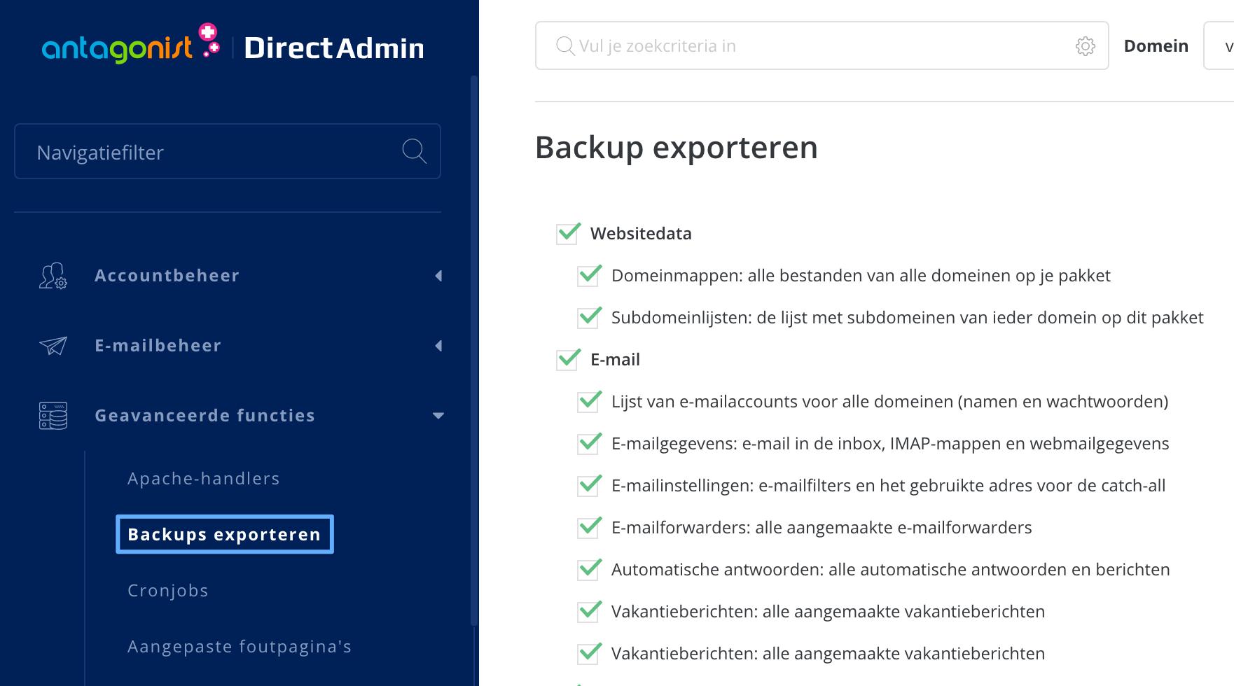Backups exporteren in DirectAdmin.