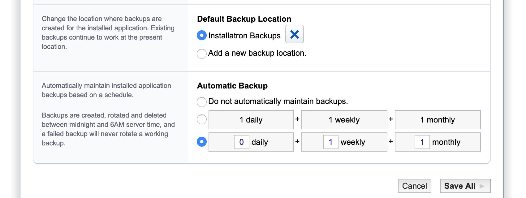 Automatisch een backup maken met installatron: een backupschema instellen.