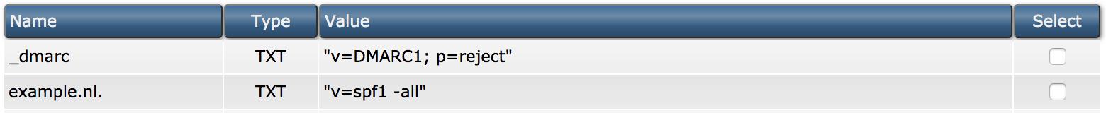 Een voorbeeld van een DMARC-record in DirectAdmin.
