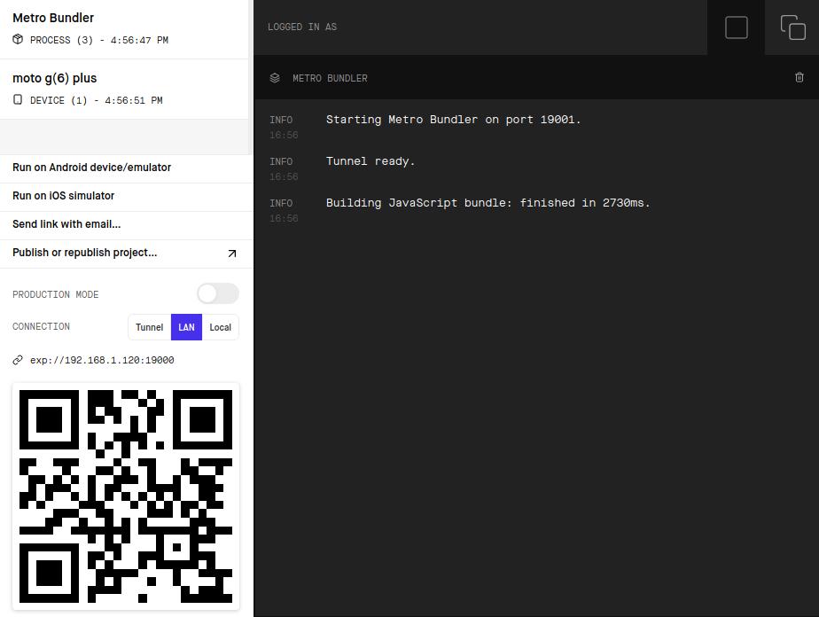 Voorbeeld van een Expo-pagina met QR-code.