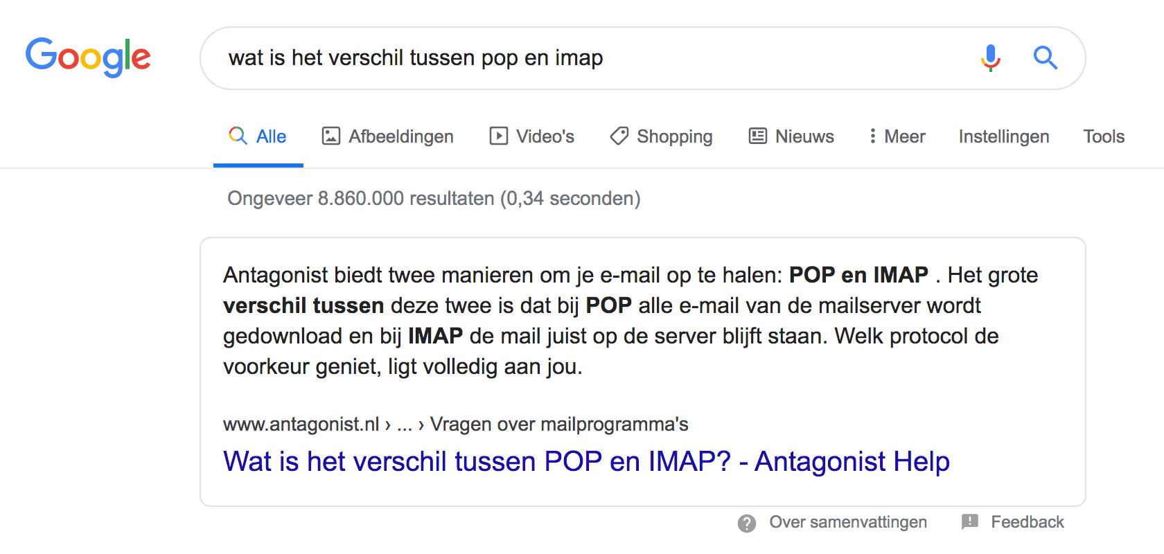 Een featured snippet in Google met tekst.