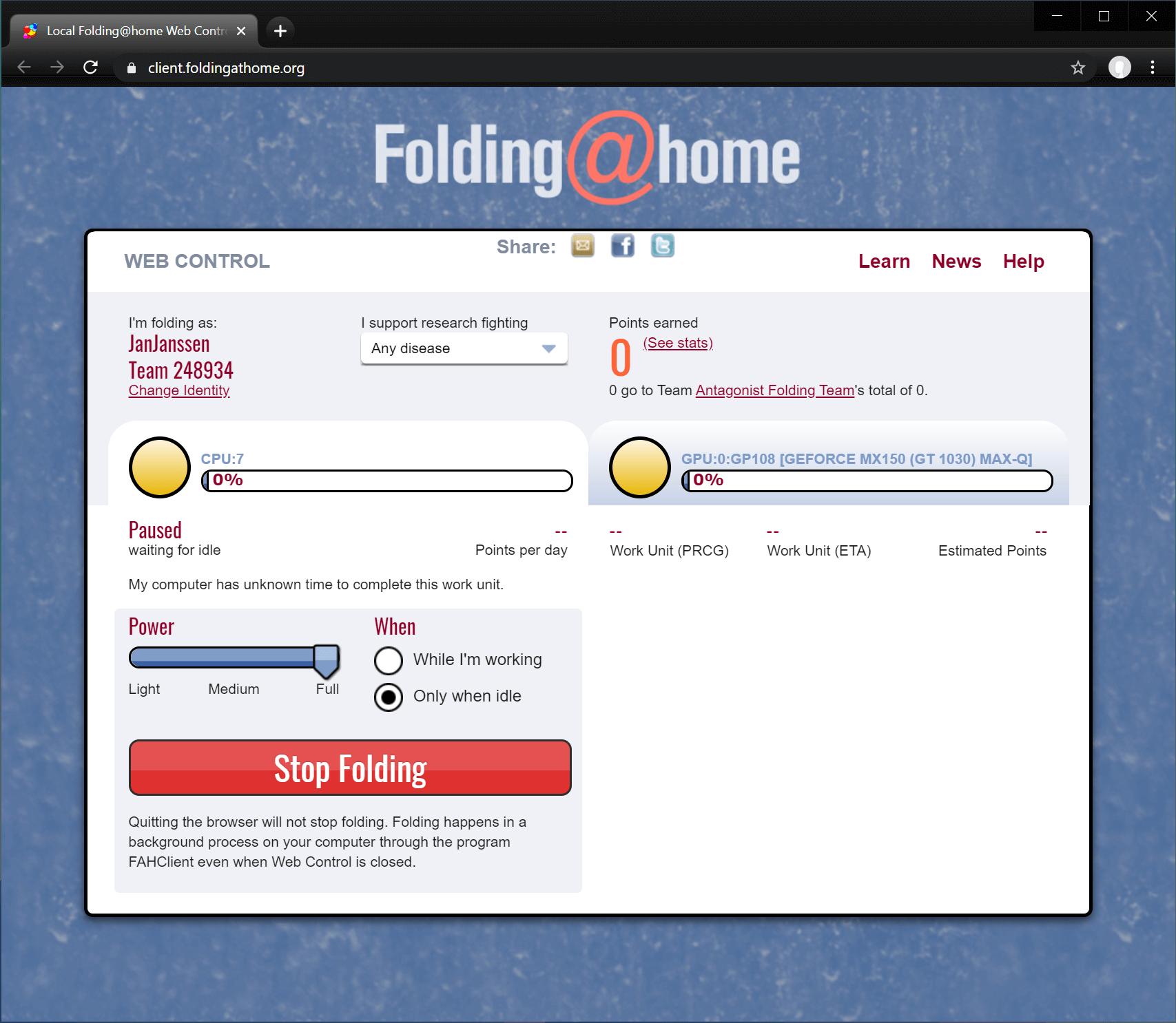 Bepaal de instellingen die jij voor Folding@home wilt gebruiken.