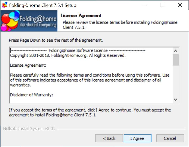 Accepteer de voorwaarden van Folding@home door op 'I Agree' te klikken.