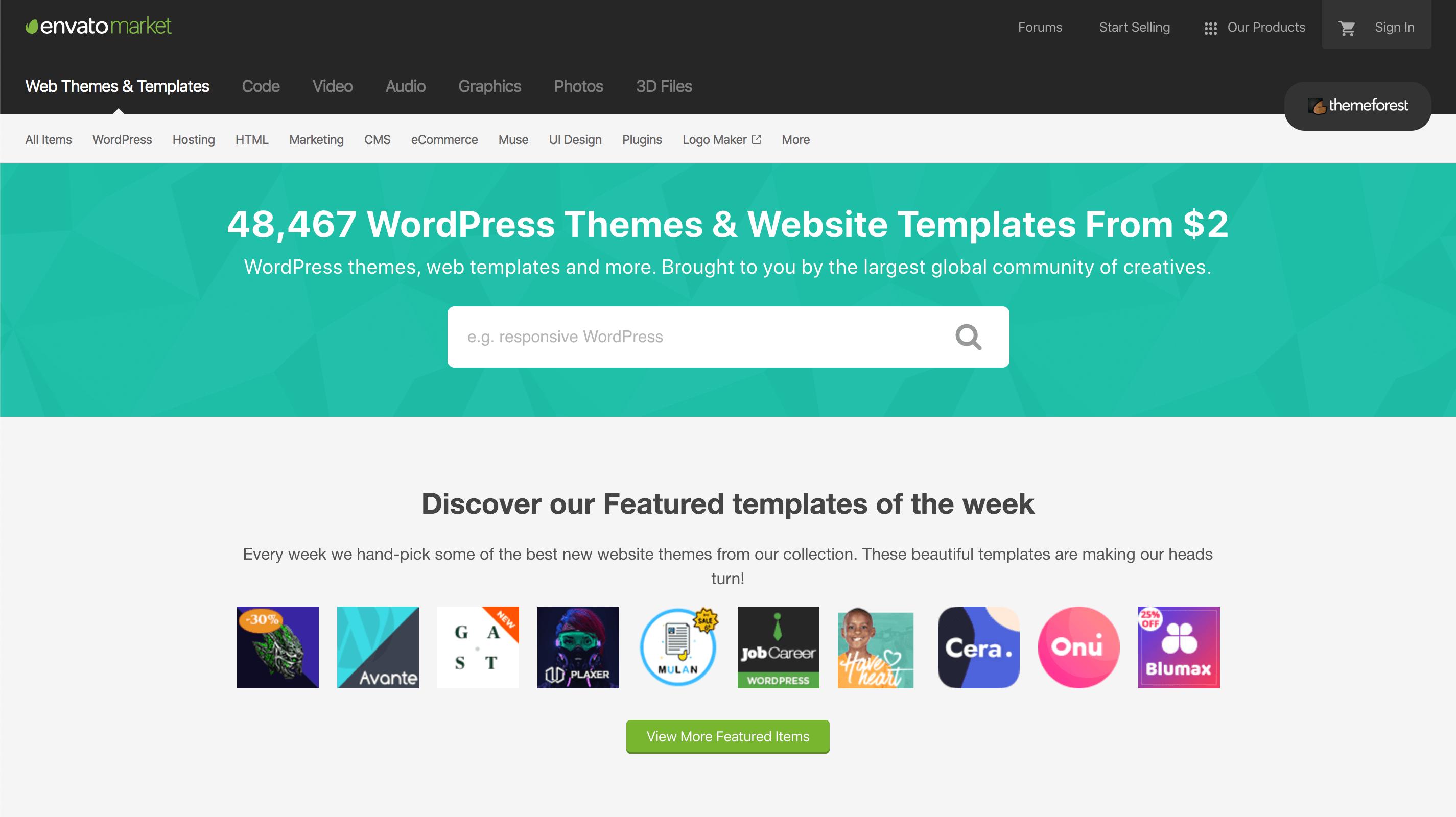 ThemeForest is een populaire marktplaats voor om WordPress templates.