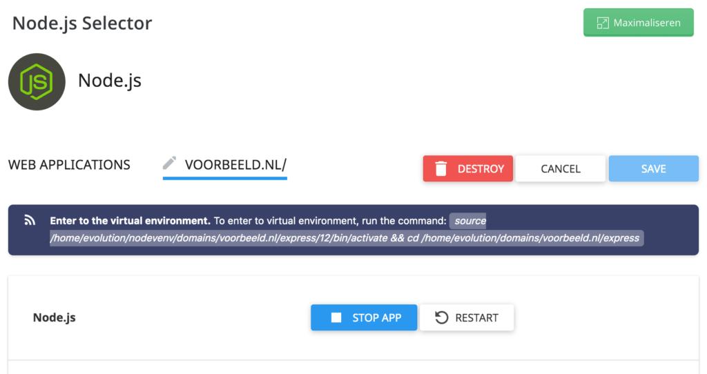 Node.js-selector: virtualenv activeren en naar je projectmap navigeren.