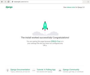 De beginpagina van een Django-applicatie.